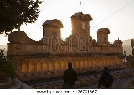 LEONFORTE ITALY - MARCH 25: View of Granfonte baroque fountain in Leonforte at sunset on March 25 2016