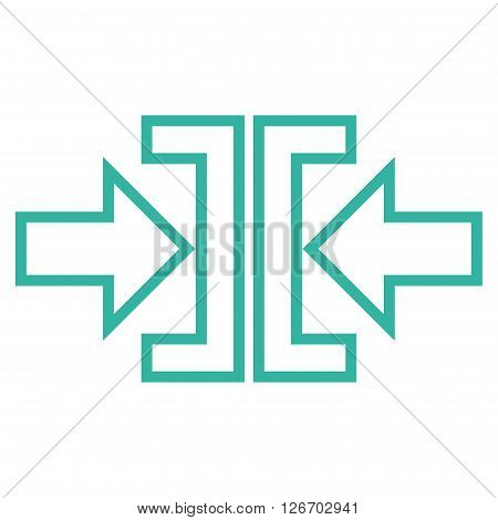 Pressure Arrows Horizontal vector icon. Style is thin line icon symbol, cyan color, white background.
