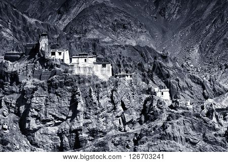 Night shot of ruins and Basgo Monastery surrounded with stones and rocks Leh Ladakh Jammu and Kashmir India