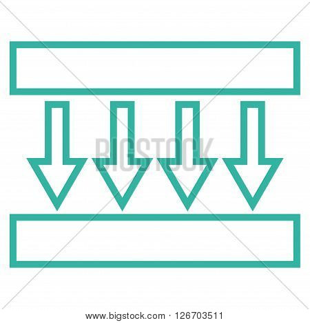 Pressure Vertical vector icon. Style is stroke icon symbol, cyan color, white background.