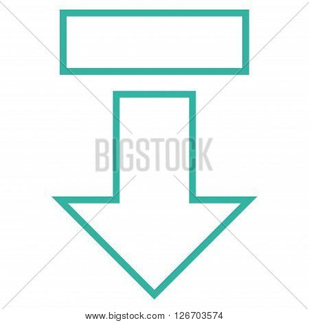 Pull Arrow Down vector icon. Style is stroke icon symbol, cyan color, white background.