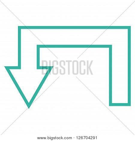 Return Arrow vector icon. Style is outline icon symbol, cyan color, white background.