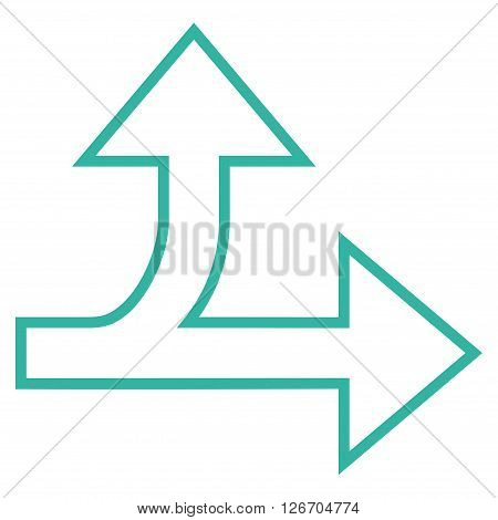 Split Direction Right Forward vector icon. Style is outline icon symbol, cyan color, white background.