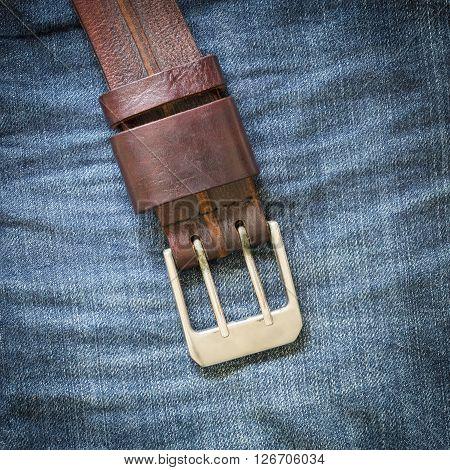 Denim Jean Texture Background With Leather Belt