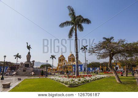 TRUJILLO PERU - August 3: Panoramic view of main square of the city in august 3 of 2012 Trujillo Peru.