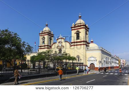 TRUJILLO PERU -AUGUST 3: Historic Church San Agusti­n in the Spanish colonial city on august 3 2112 in Trujillo Peru.