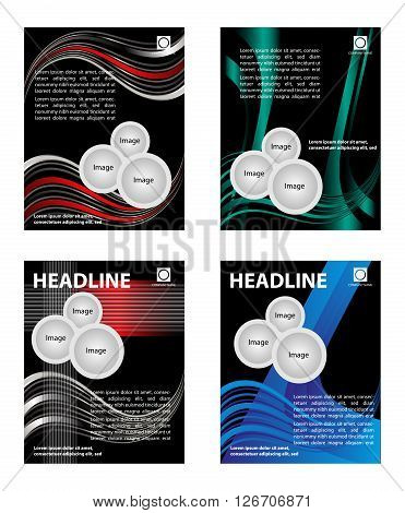 Vector design of the red flyer whit black elements and place for text