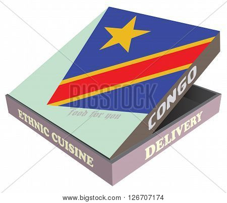 Delivery Ethnic cuisine Congo. Cardboard packaging. Vector illustration.