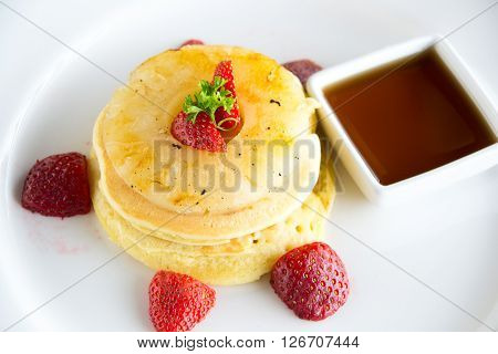 Pancake With Caramelized Pineapple And Maple Syrup