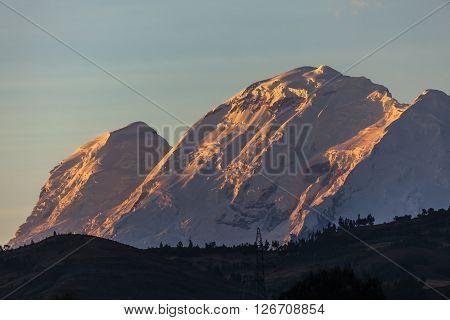 Huascaran peak in Cordillera Blanca, Andes Peru.