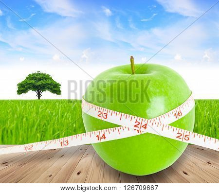 Green apple fruit with a Measure on beautiful tee and blue sky background. Fruit for health concept.