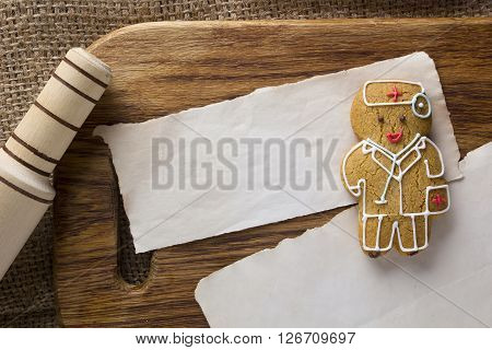 Cookies in the form of a man by profession a doctor