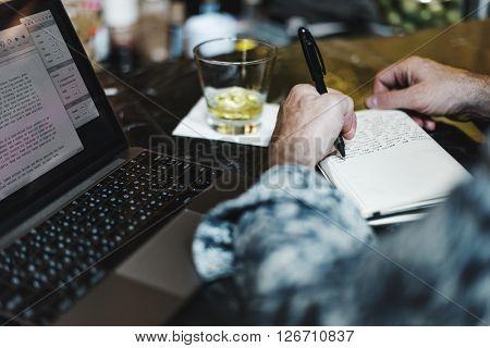 Senior Man Laptop Working Liquorl Bar Concept