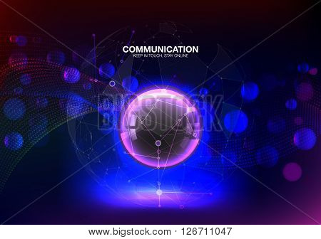 Abstract colorful background. Abstract circle bokeh and shine. Connection structure molecules circle. Point and curve constructed the sphere wireframe, technological sense.  Vector illustration
