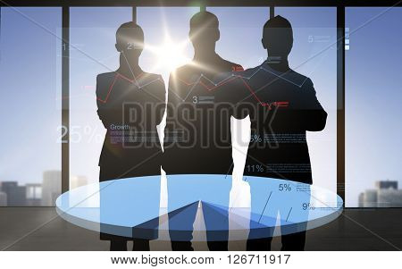 business, finances, statistics, economics and people concept - business people silhouettes over double exposure office background with pie chart and numbers
