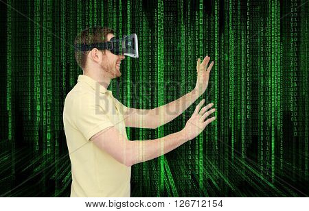 3d technology, virtual reality, programming, entertainment and people concept - happy young man with virtual reality headset or 3d glasses playing game over binary code numbers and black background