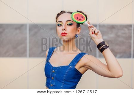 Bright Makeup Beautiful Girl Holding Watermelon Lollipop.