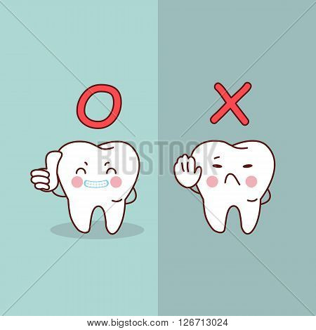 cartoon tooth thumb up against stop sign great for dental care concept