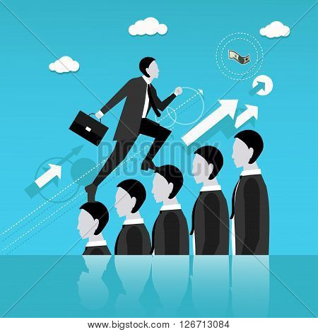 Businessman step on other people head in the way to success. Business concept vector illustration. Reaching goal in business and career.