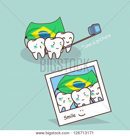 cartoon brazil tooth take a picture great for dental care and brazil 2016 concept