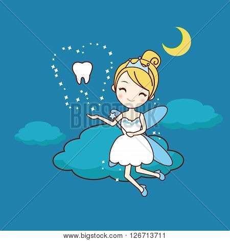 cartoon tooth with tooth fairy and magic wand great for dental care concept