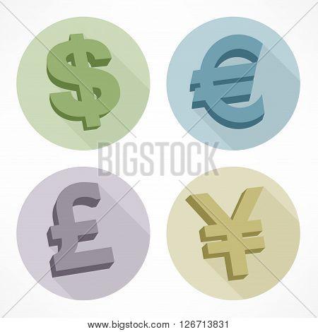 Money color signs: dollar euro pond yen vector illustration