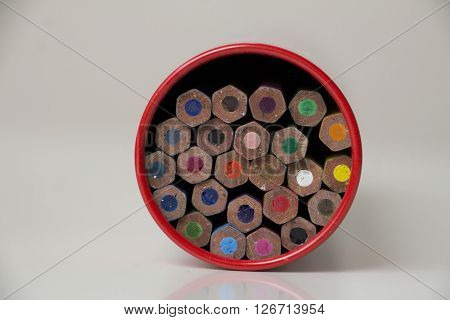 Colorful pencils for drawing in a box