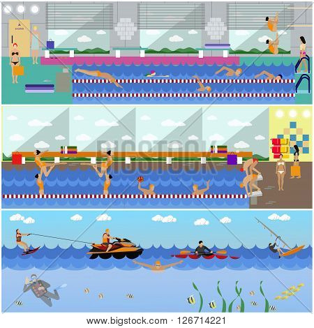 Horizontal vector banners with swimming pool interior. Water sport concept. People training and exercising. Flat cartoon illustration