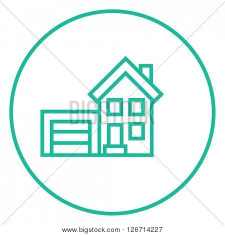House with garage line icon.