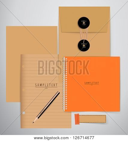 Paper, catalog, magazines, book mock up. Vector illustration.