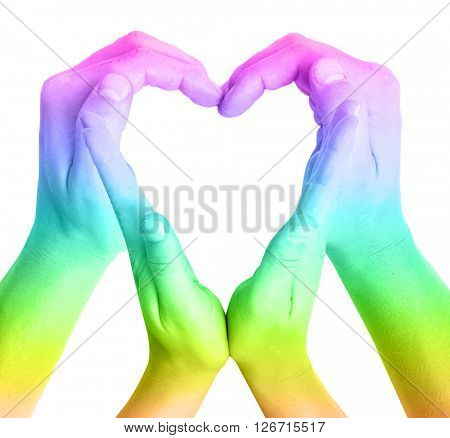 Rainbow heart on white