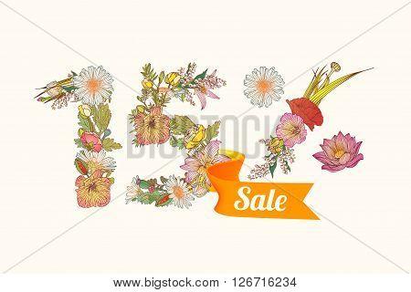 fifteen (15) percents sale. Floral vector digits