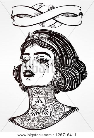 Adult coloring book page with the face of young tattooed girl. Coloring book page for adults. Female portriat in flash tattoo style. Isolated vector illustration with ribbon banner and space for text.