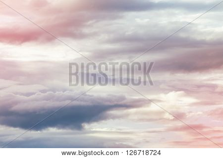 Beautiful Sunlight On Blue Sky With White Cloud, Clear Weather Sky Background