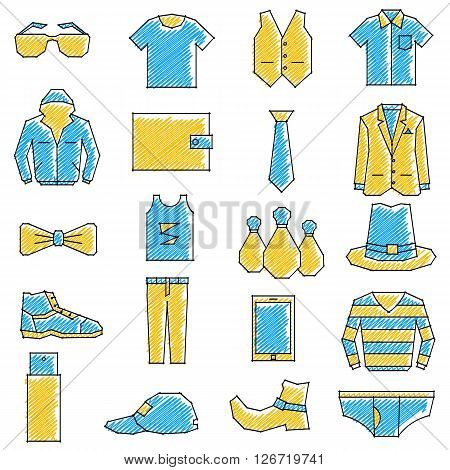 vector illustration of set of scribbled boys related icon against isolated background