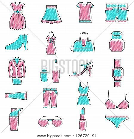 vector illustration of set of scribbled girls related icon against isolated background