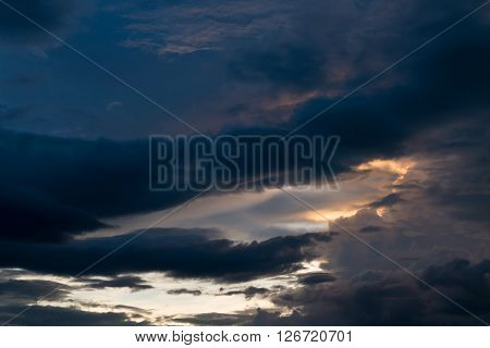 Twilight Sunset Sky With Cloudy And Sunlight Through Clouds