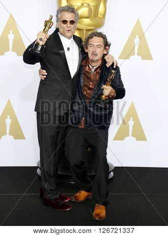 Mark A. Mangini and David White at the 88th Annual Academy Awards - Press Room held at the Loews Hotel in Hollywood, USA on February 28, 2016.