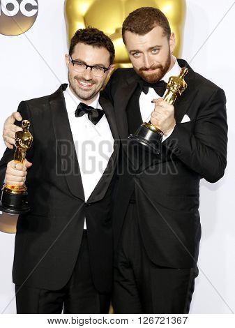 Jimmy Napes and Sam Smith at the 88th Annual Academy Awards - Press Room held at the Loews Hotel in Hollywood, USA on February 28, 2016.