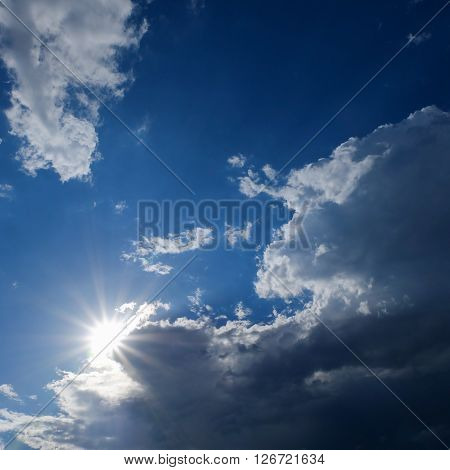 Clear Weather Sky, Sun On Blue Sky With Clouds, Sun Rays