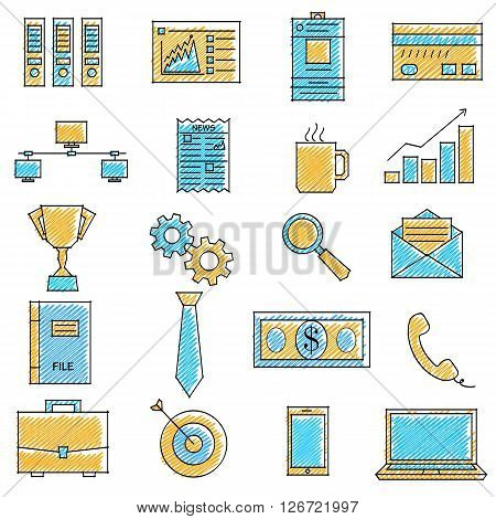 vector illustration of set of scribbled business icon against isolated background