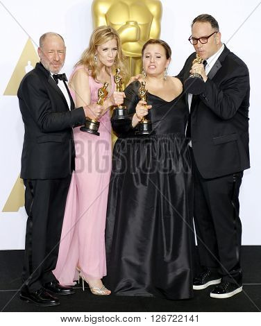 Steve Golin, Blye Pagon Faust, Nicole Rocklin and Michael Sugar at the 88th Annual Academy Awards - Press Room held at the Loews Hotel in Hollywood, USA on February 28, 2016.