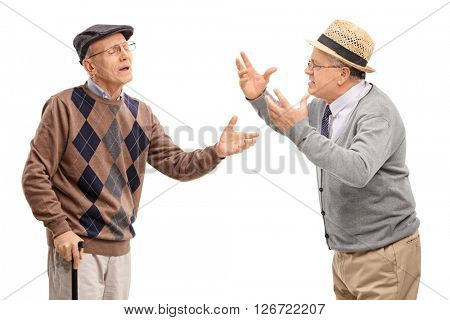 Two stubborn mature men arguing with each other isolated on white background