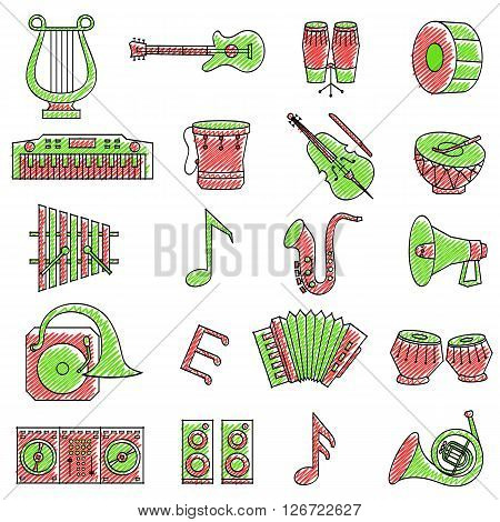 vector illustration of set of scribbled music icon against isolated background