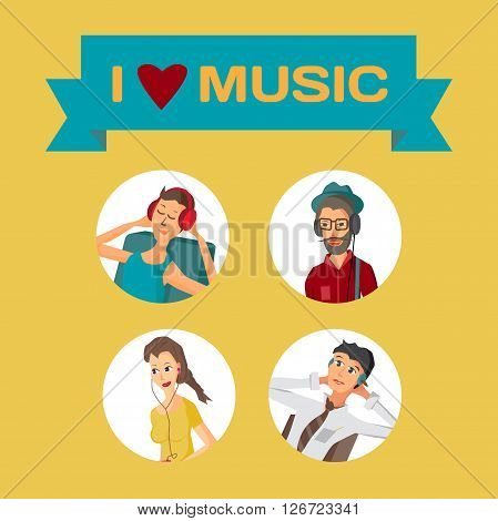 Vector modern flat design avatar people wearing headphones listening music. Cartoon character of music lovers enjoying his favorite track. Music lovers in different situations: home office street