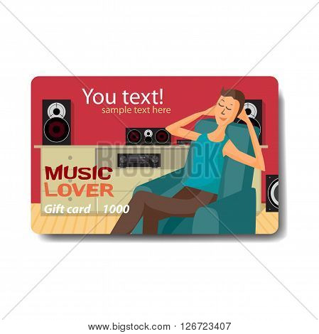 Music lover sale discount gift card. Branding design for music shop. Listening to music on outdoor theme for gift card design. Music lover man listen to music with stereo system while sitting in chair