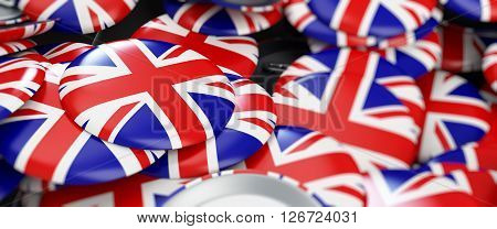 badge button United Kingdom flag 3d Illustrations background