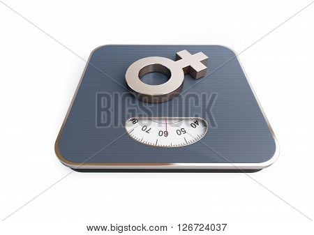 Sign woman on the scales 3D rendering on a white background