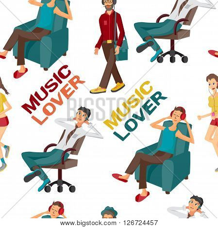 Seamless textile pattern with vector modern flat design people wearing headphones listening music. Cartoon character of music lovers enjoying his favorite track. Music lovers in different situations