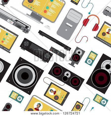 Seamless textile pattern with home stereo flat vector illustration for music lovers. Loudspeakers player receiver subwoofer remote vinyl smartphone tablet headphones background